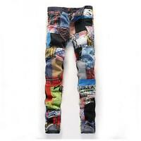 New Men's mutil Color Stitching Denim Trousers Full Length Jeans slim Pants Boys