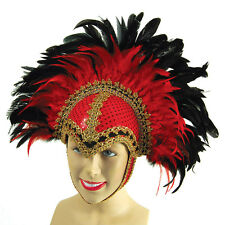 FEATHER HELMET RED WITH BRAID DETAIL AND PLUME FANCY DRESS ACCESSORIES