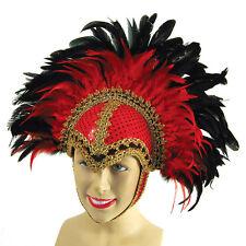 Plumes casque rouge avec tresse détail et plume fancy dress accessoires
