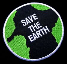 SAVE THE EARTH LOGO Round Embroidered Iron on Patch Free Shipping
