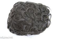 Dark Brown with 50% Grey Grey Medium Human Hair Monofilament Hand Tied Toupee