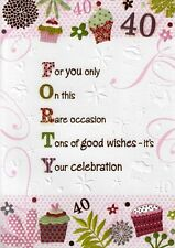 FEMALE 40TH 40 BIRTHDAY CARDS POETRY IN MOTION GLITTER GREETING CARD NICE VERSE