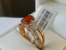 ULTRA RARE 9k Clinohumite & White Topaz yellow gold ring GEM QUALITY