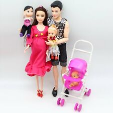 Family 5 People Educational Real Pregnant Doll Mom/Dad/twins baby/1 Baby Son/1