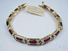 """Swarovski Crystals - 7"""" Length 1380 D'Orlan Gold Plated Bracelet Red Enamel &"""