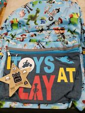 """Disney Toy Story 4 16"""" Kids' Toys At Play Backpack Blue Youth School Bag"""