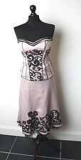 KAREN MILLEN Champagne Boned Corset and Skirt with Black Embroidery - Rare 10-12