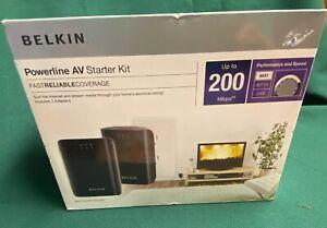 NEW NIB Belkin Powerline AV Starter Kit up to 200Mbps Black F5D4074 Network