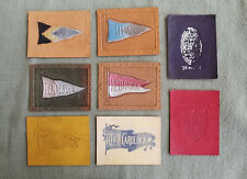 8 Antique Leather College Pennant/Logo Tobacco Premiums. 1910's college mementos