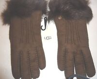 UGG Australia SHEARLING Fur Cuff Toscana Gloves, L, Chocolate