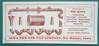 IOWA PIPE & Tile Co Des Moines Linings Coping - 1950s INK BLOTTER