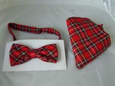 < DD > Tartán Rojo-Rojo Poliéster Corbata de moño y Pañuelo Conjunto >> muchos más modelos en tienda
