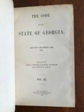 RARE 1895 Code of the State of Georgia, Early Law Book, Atlanta, GA, Leather