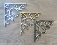 PAIR of Solid brass ornate decorative vintage wall mounted shelf support bracket