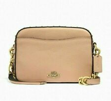 Coach 35514 Nude Pink Leather Crystal Rivets Crossbody Messenger Camera Bag NWT