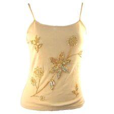 Yellow Sleeveless Beaded Tank Top Shirt Size S Causal Women's Ladies