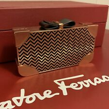 Salvatore Ferragamo Britty Black Gold Bag Purse Clutch NWT 0676666 $1950