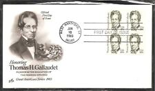 US SC # 1861 Thomas H. Gallaudet FDC. BLK4 .Artcraft Cachet.
