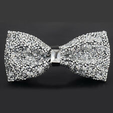 Men's Wear Bow Tie Crystal Glitter Silver Wedding Smart Ball Party Prom 5 Colous