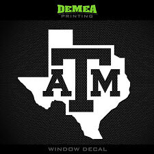 Texas A&M - State of Texas - NCAA - White Vinyl Sticker Decal 5""
