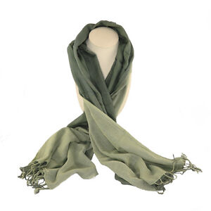 Olive and Green Fine Cotton Scarf