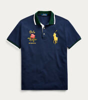 NWT Polo Ralph Lauren Men's 2XL Navy Mesh Big Pony & Rose Classic Fit Polo Shirt