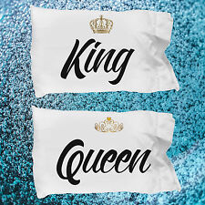 King and Queen Pillow Cases ~ 2 White Microfiber Couples Pillowcases