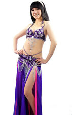 2PCS Belly Dance Costume Outfit Set Bra Top Belt Hip Scarf Bollywood S M L XL