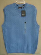 NWT $60 GREG NORMAN Mens L Golf Sweater VEST BLUE (402) V Neck Cotton Knit