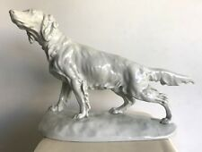 Herend Art Deco Large Setter Dog Porcelain Sculpture Signed by Vastagh Gyorgy
