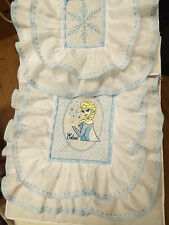 NEW - Dolls,Embroidered-Elsa Frozen Motif, Bedding Set - cot/pram/bed.