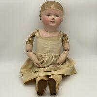 "Antique Giant 29"" Martha Chase Little Boy Girl Oil Cloth / Cloth Stockinet Doll"
