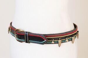 Vintage Belt Black Leather Tribal Trinkets - Red Gold Green - FELISI - S/M