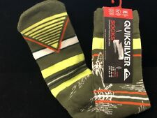 NEW Mens QUIKSILVER Fashion Crew Socks 10-13  NWT Swift-Dry Neon & Green