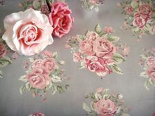 Stoff Meterstoff Rosen shabby vintage Softoptik grau Stühle Profi Polsterstoff