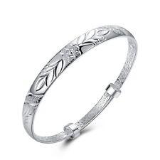 # SHIP FROM USA # 18K White Gold Filled 8'' Carved Open Bangle Bracelet Z1063