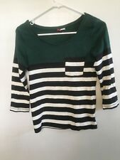 Women's H&M divided green black white striped top size 2