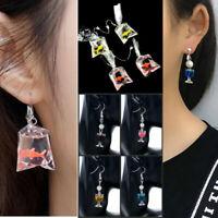 Women Food Jewelry Glass of Wine Goldfish Earrings, Miniature Food Earring 2pcs