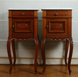 A pair French Victorian Nightstands bed - end tables mahogany marble top 19th c