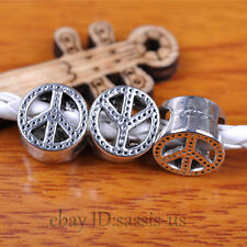 30pcs Charms Spacer Beads 7*5mm Hole Peace Tibet Silver Bails DIY Jewery A7301