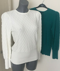 M&S Sizes 10 18 22 Fine Knit Diamond Textured Viscose Jumper Cream Rich Aqua