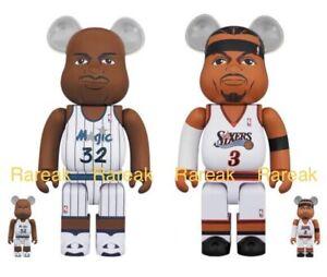 Medicom 400% + 100% Bearbrick NBA Shaquille O'Neal & Allen Iversion Be@rbrick 2p