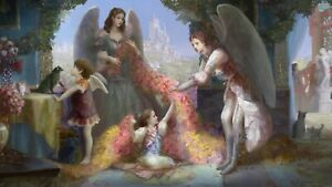 Fantasy Angel Family - Vintage Painting Large Wall Art Poster / Canvas Pictures