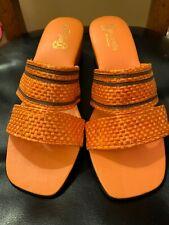 Vintage Hamehameha Of Hawaii 1960's Orange Wicker Straw Slides Size 9