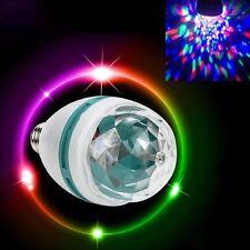 2 X E27 - 3 W Bombilla LED RGB Cristal Giratorio Etapa Fiesta Discoteca Navidad Colorido Lámpara