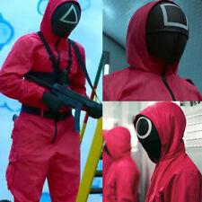 Villain Red Jumpsuit Belt+Gloves Costume Halloween Cosplay Uniform UK