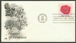 #1876 18c Rose, Art Craft FDC **ANY 5=FREE SHIPPING**