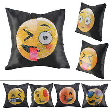 Nice Amusing Magic Emoji Mermaid Sequins Cushion Cover Sofa Throw Pillow Case