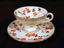Tasse & sous-tasse porcelaine fine Erdmann Schlegelmilch XIX° décor roses signée