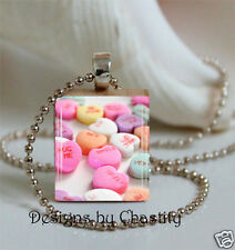 Valentine's Day Necklace Candy Pink Hearts Charm Pendant Laugh Love Hugs Kisses
